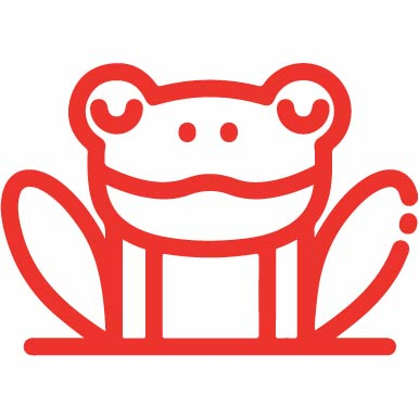 A red clipart frog smiling peacefully