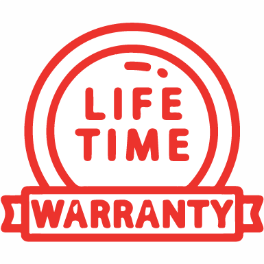 Red clipart image of a medal which reads lifetime warranty.
