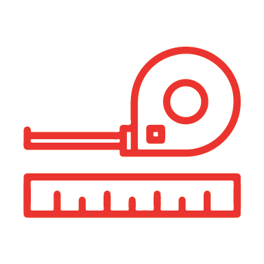 Red clipart image of a tape measure and a ruler side by side.